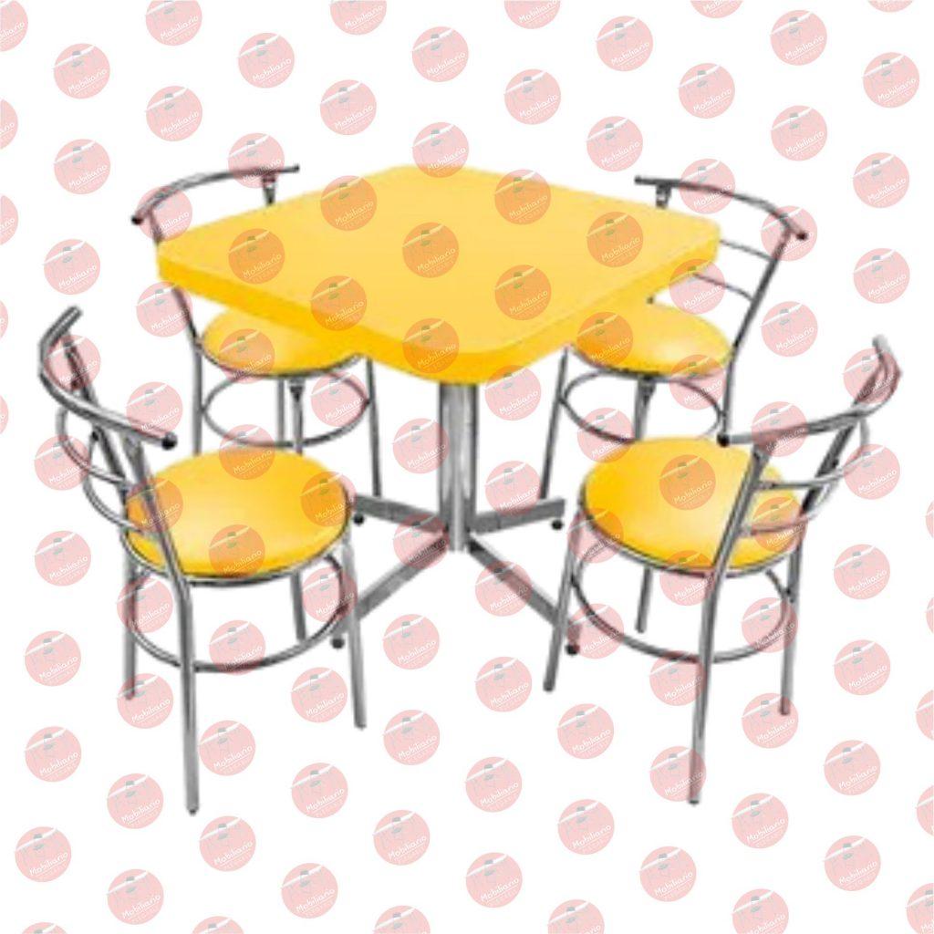 Juego de mesa para restaurante y silla chabely cromada 3